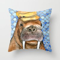kevin russ Throw Pillows featuring Russ by Amy Nickerson
