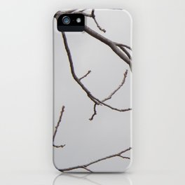 Cold Grey Sky Behind Leafless Tree Branches iPhone Case