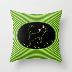 Neon Black Cat Throw Pillow