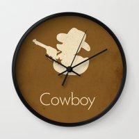 cowboy Wall Clocks featuring Cowboy by S. Vaeth