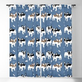 French Bulldogs on Brittany Blue Background Blackout Curtain