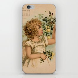 Little girl picking yellow roses Maud Humphrey iPhone Skin
