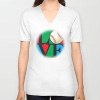 baseball V-neck T-shirts featuring Love Baseball by Gary Grayson