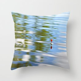 Fishing float on the water Throw Pillow