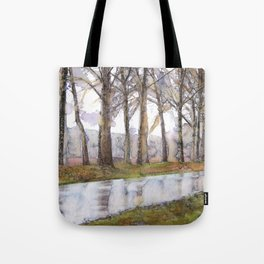 "Landscape Of A Road Fine Art Watercolor Painting  ""The Road Not Traveled"" Tote Bag"