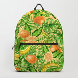 Tangerines, bananas and tropical leaves Backpack