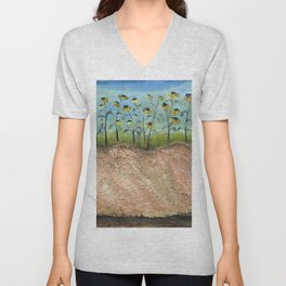African American Masterpiece 'Sunflowers on the Graves' by Irene Clark Unisex V-Neck