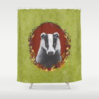 badger Shower Curtains featuring Badger Portrait by Michelle Grace