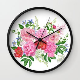 Bouquet of pink peonies Wall Clock