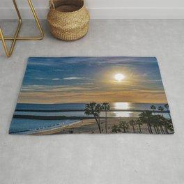 Sunset at  C o r o n a  Del Mar Main Beach Rug