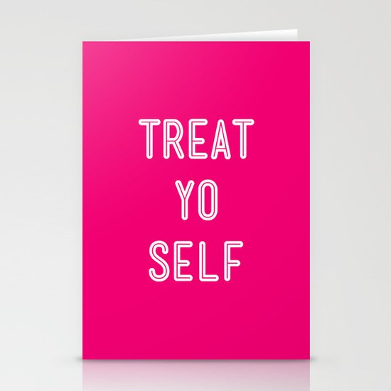 Treat Yo Self Pink- Parks and Recreation Stationery Cards