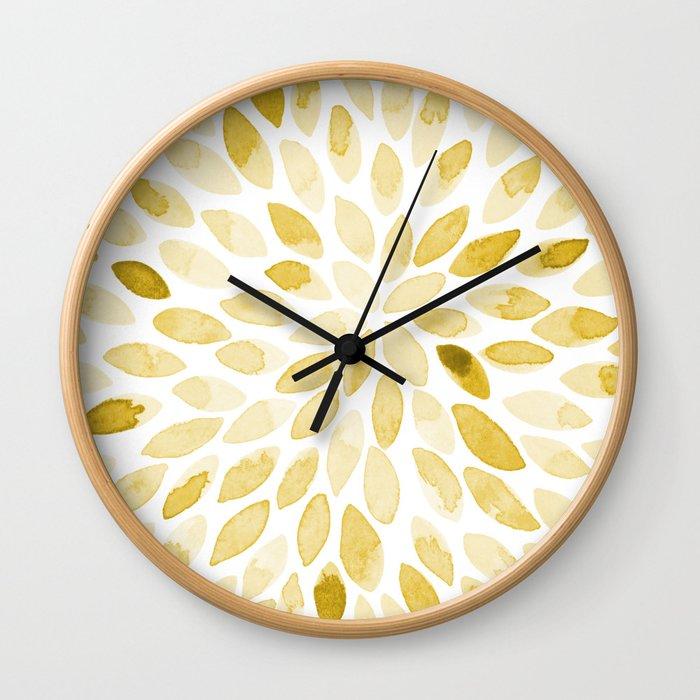 Watercolor brush strokes - yellow Wall Clock