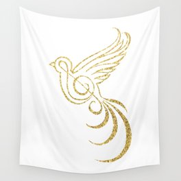 Golden Songbird Wall Tapestry