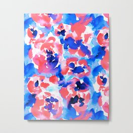 Abstract Flora Blue Metal Print