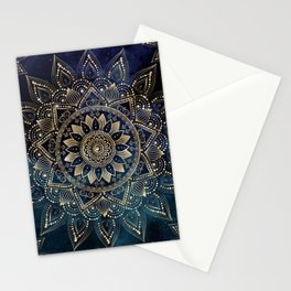 Elegant Gold Mandala Blue Galaxy Design Stationery Cards
