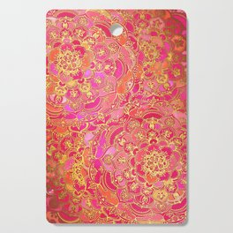 Hot Pink and Gold Baroque Floral Pattern Cutting Board