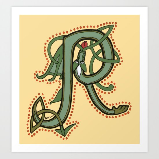 Celtic Dragon Letter R Art Print