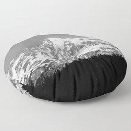 Mount Rainier Black and White Floor Pillow