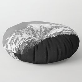 Mount Rainier Black and White Floor Pillow