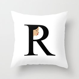 Letter R with face of women Throw Pillow
