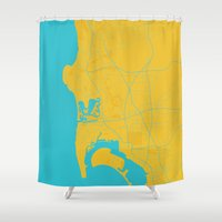 san diego Shower Curtains featuring San Diego Map by Roadtrippers
