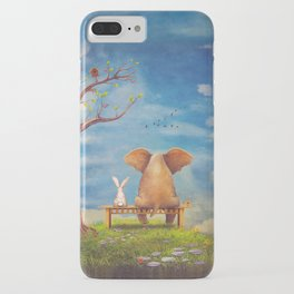 Elephant and rabbit sit on a bench on the glade iPhone Case