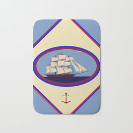 A Nautical Scene with Clipper Ship with Country Blue Background Bath Mat