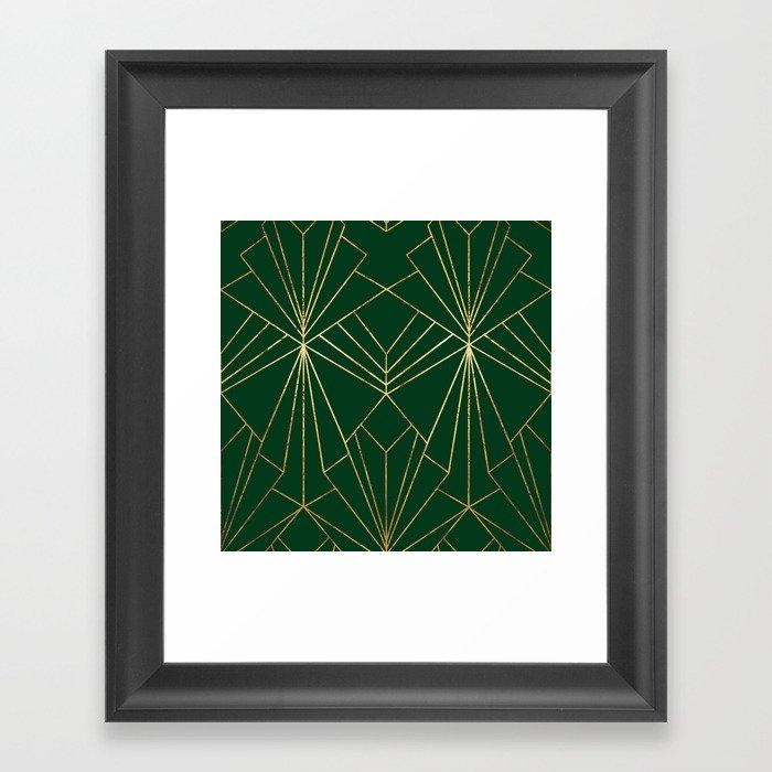 Art Deco in Gold & Green - Large Scale Gerahmter Kunstdruck