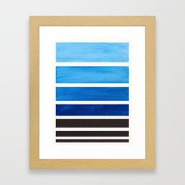 Blue Minimalist Mid Century Modern Color Fields Ombre Watercolor Staggered Squares Framed Art Print