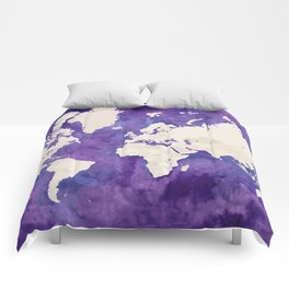 Purple watercolor and light brown world map with outilined countries Comforters