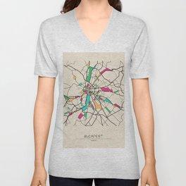 Colorful City Maps: Budapest, Hungary Unisex V-Neck