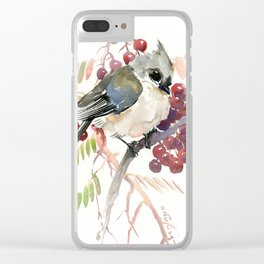 Cute Little Bird and Berries, Tufted Titmouse Clear iPhone Case