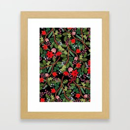 Christmas Floral Black Framed Art Print