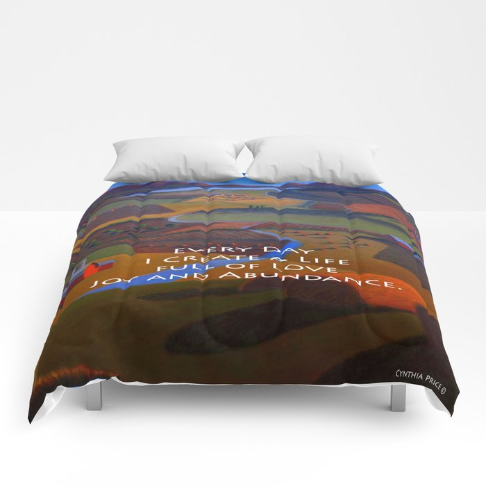 Love, Joy and Abundance Mantra - Cynthia Price Painting Comforters