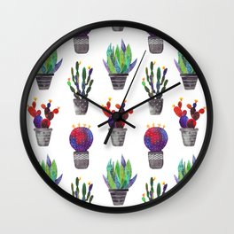 Colorful Cactuses Wall Clock