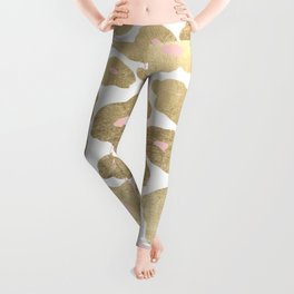 Elegant pink faux gold abstract leopard animal print Leggings
