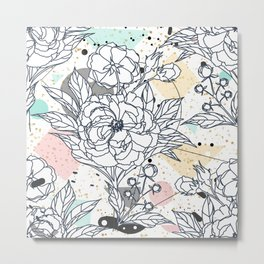 Modern geometric shapes and floral strokes design Metal Print