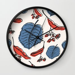 Linden pattern in retro mid-sentury colors Wall Clock