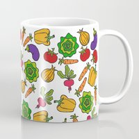 vegetables Mugs featuring Vegetables by Alisa Galitsyna