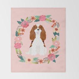 Cavalier king charles spaniel blenheim white dog floral wreath dog gifts pet portraits Throw Blanket