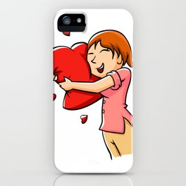 Girl hugging heart. iPhone Case
