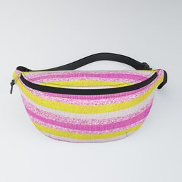 Pastel Violet Pink Yellow Faux Glitter Summer Stripes Pattern Fanny Pack