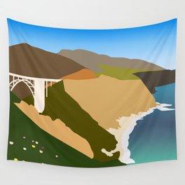 Big Sur Illustration Wall Tapestry
