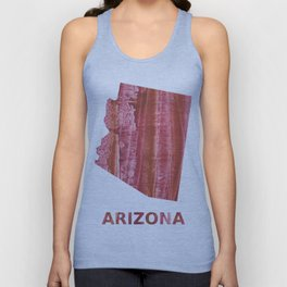 Arizona map outline Indian red stained wash drawing Unisex Tank Top