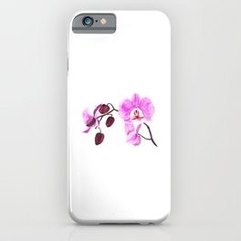 pink orchid flower watercolor painting iPhone Case
