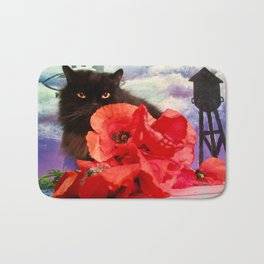 Pomponio Mela loves poppies Bath Mat