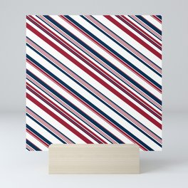 Red and Blue Stripes Mini Art Print