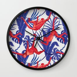 red monkey blue leaves pattern Wall Clock