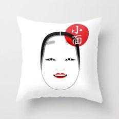 Ko-omote mask Throw Pillow