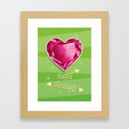 Birthstones July Red Ruby Heart shaped Birthday Framed Art Print